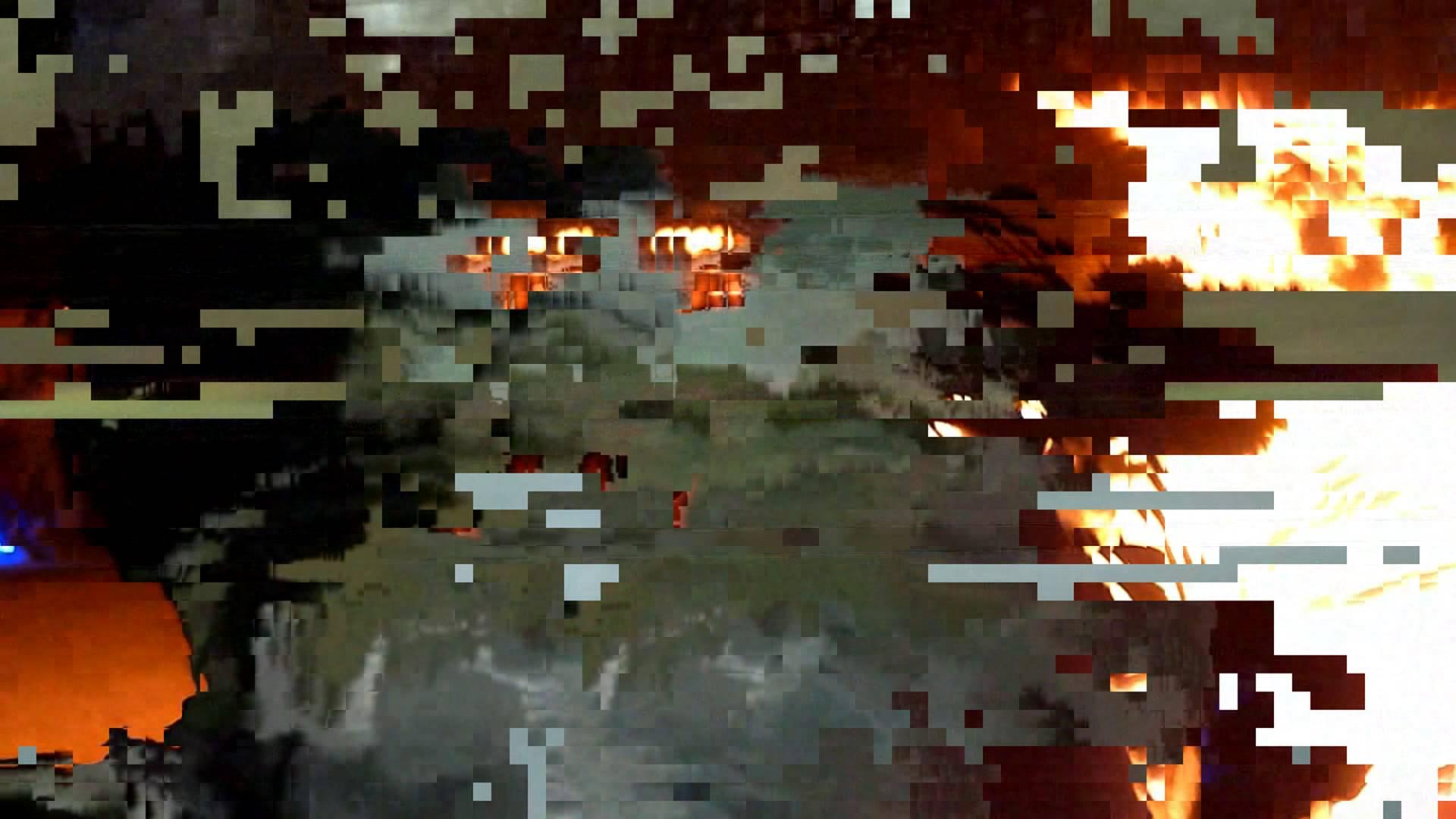 datamoshed carcrash and fire glitch video